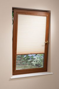 Oak frame pleated blind