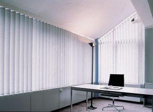Sloping vertical blinds