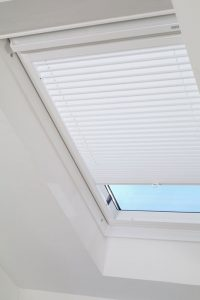 Pleated blinds on sloping ceiling